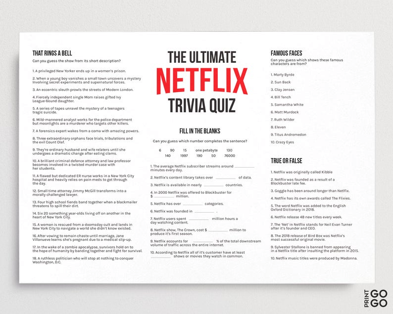 The Ultimate Netflix Quiz TV Family Games Television Game ...