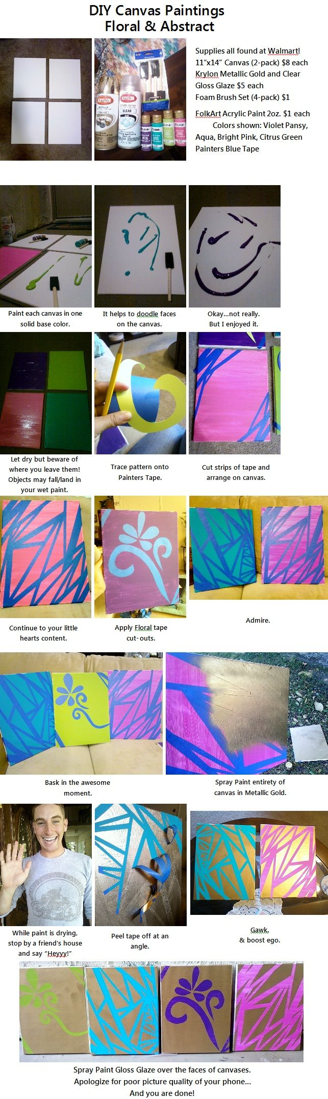 DIY Canvas Painting Craft  In Floral and Abstract
