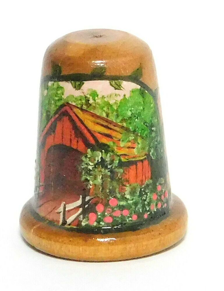 Floral Hand decorated Vintage wood thimble