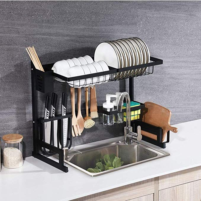 Whifea Dish Drying Rack, Kitchen Storage Shelf Over Sink, Stainless Steel Sink Dish Rack, Kitchen Supplies Organizer Utensils Holder, Matte Black (L 25.6 inch x W 12.6 inch x H 20.5 inch) Review #dishracks