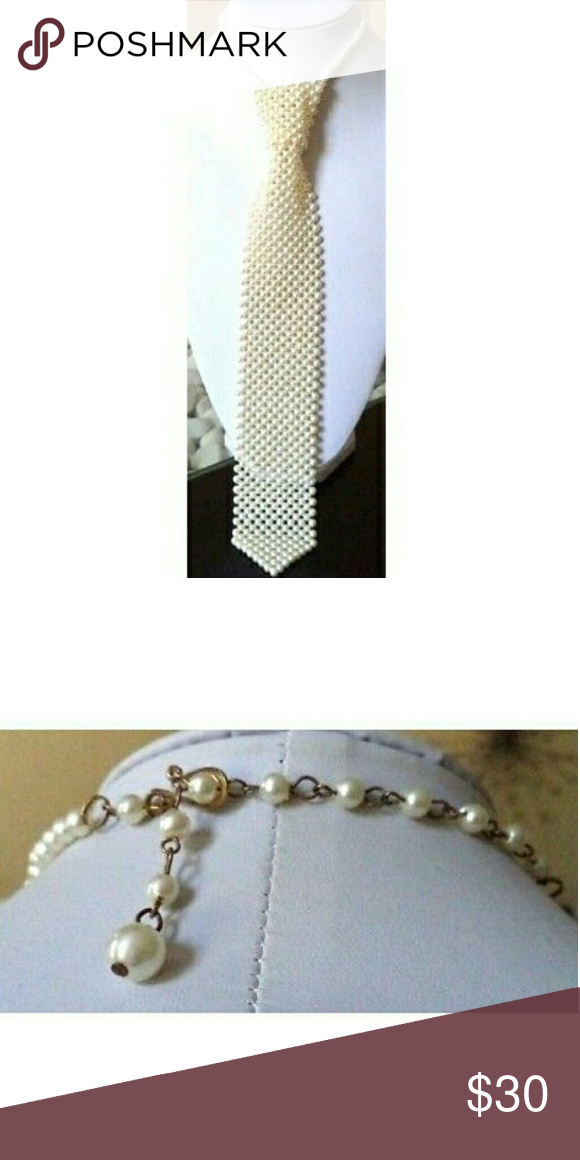 Beaded tie necklace or  Vintage jewelry