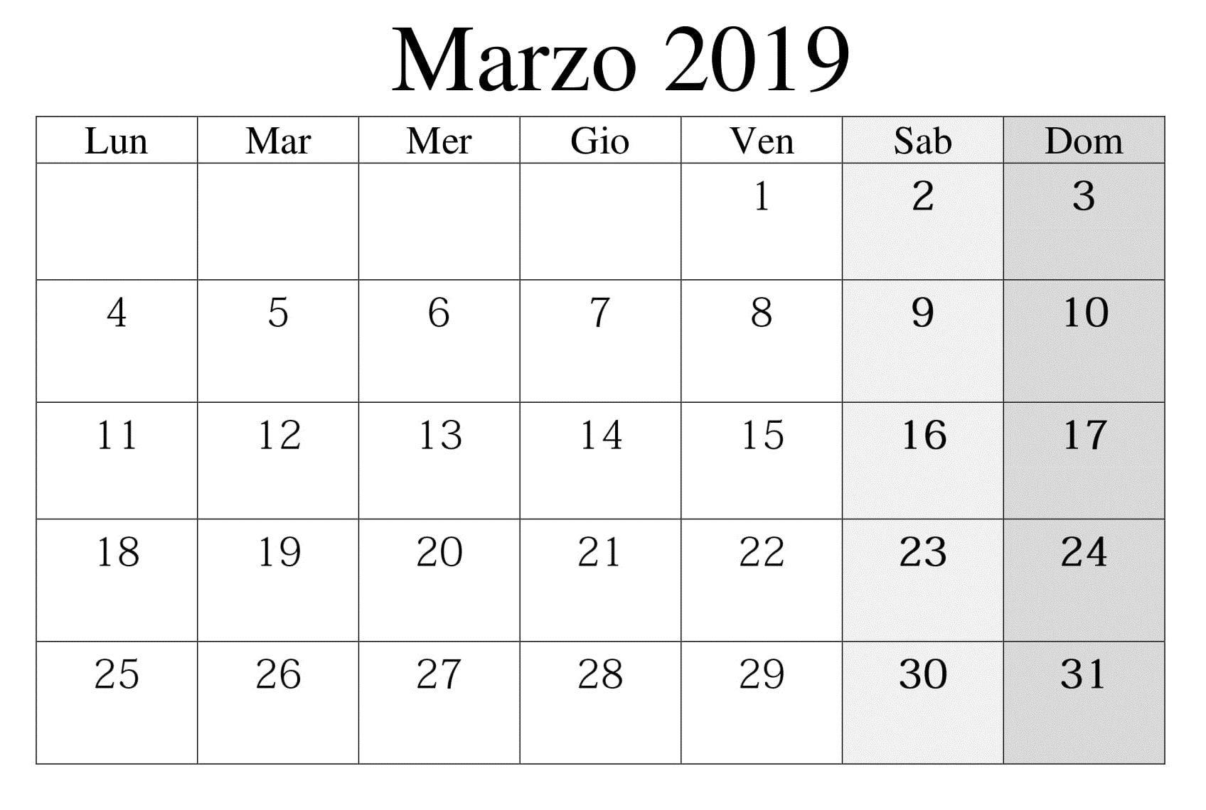 Calendario Per Appunti.Calendario Marzo 2019 Da Stampare Calendario Marzo 2019 Da