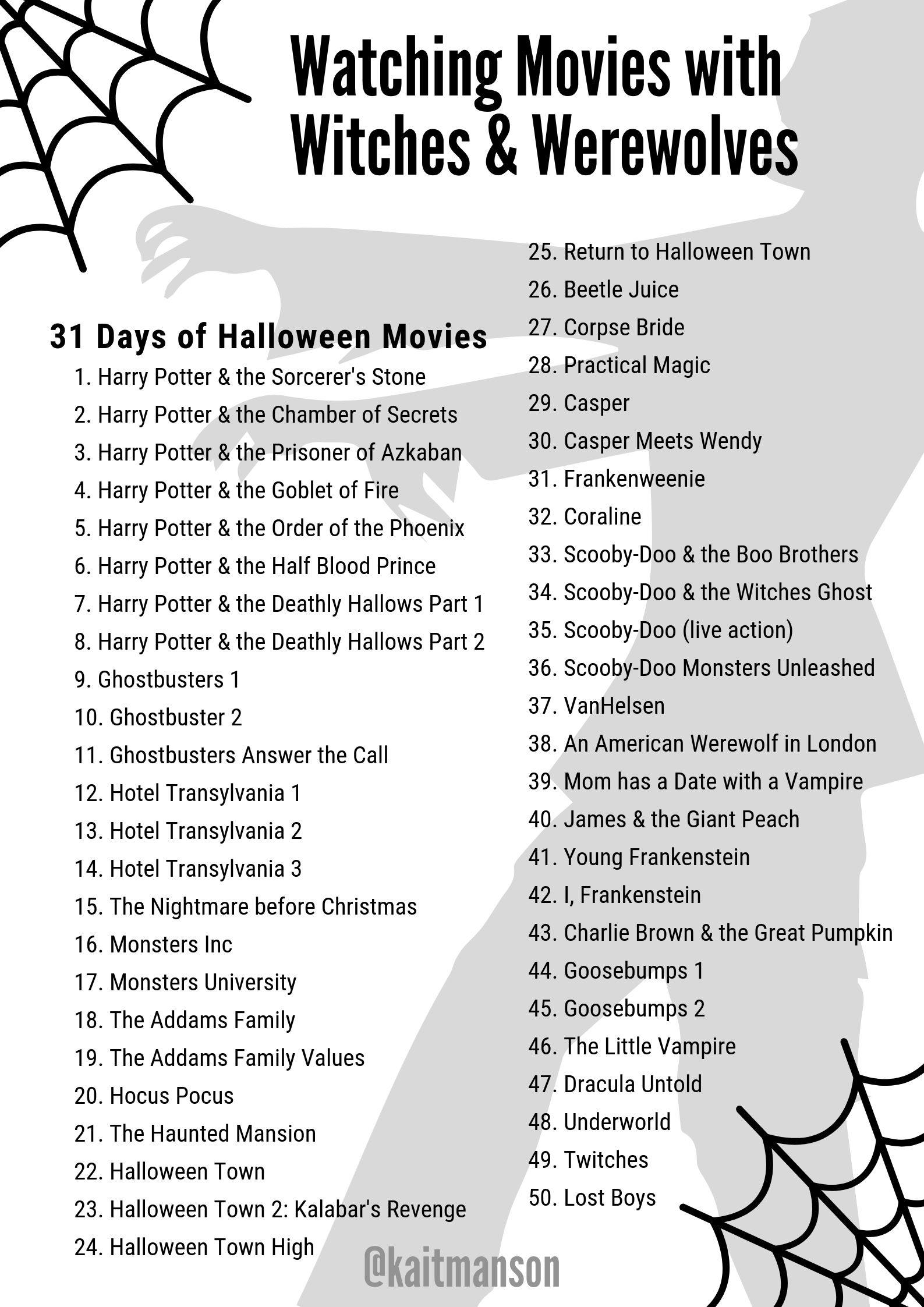 Halloween Watching 2020 31 Days of Halloween Movies in 2020 | Halloween movies, Halloween