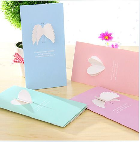 816cm candy color kawaii greeting cards 4pcsset paper festival cheap birthday gift card buy quality greeting cards directly from china gift card suppliers cute postcards greeting cards valentine s day creative wings m4hsunfo