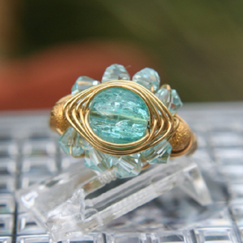 Evil Eye Ring in Blue Crystal in Gold or Silver  | MaruJewelryDesigns - Jewelry on ArtFire