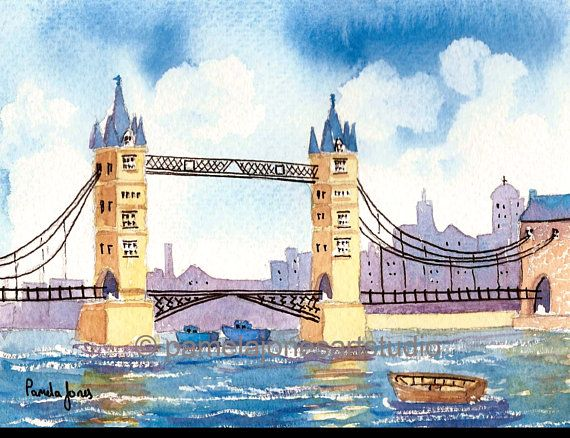 Tower Bridge London England Original Watercolour Painting London