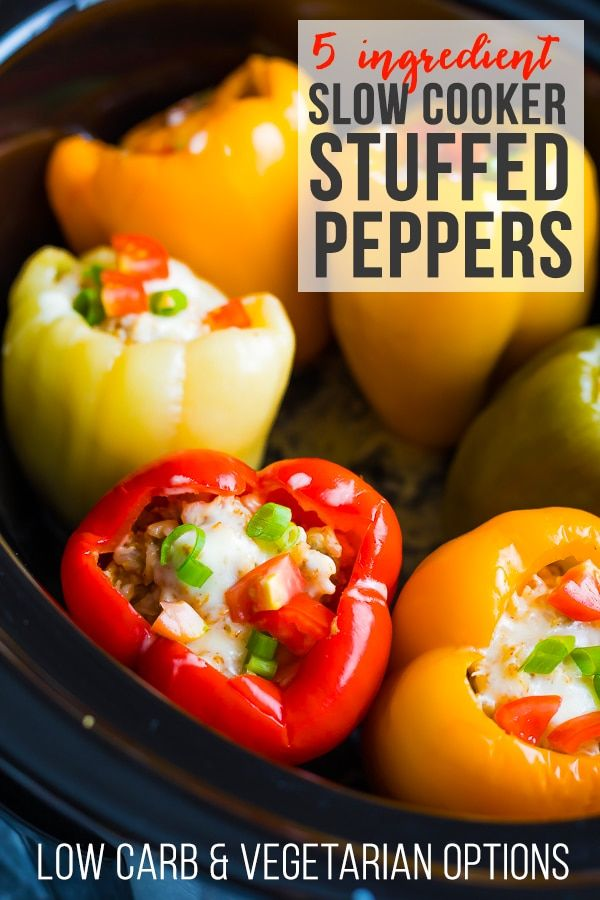 Crock Pot Stuffed Peppers Crock pot stuffed peppers recipe with only five ingredients! You can prep this ground turkey stuffed peppers recipe with less than 15 minutes of effort...you can even freeze it ahead and thaw when ready to cook for a freezer crock pot meal. Low carb and vegetarian options included.