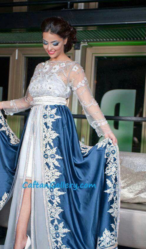Caftan dentelle et tissu blu = wedding | Caftan robe marocaine ...