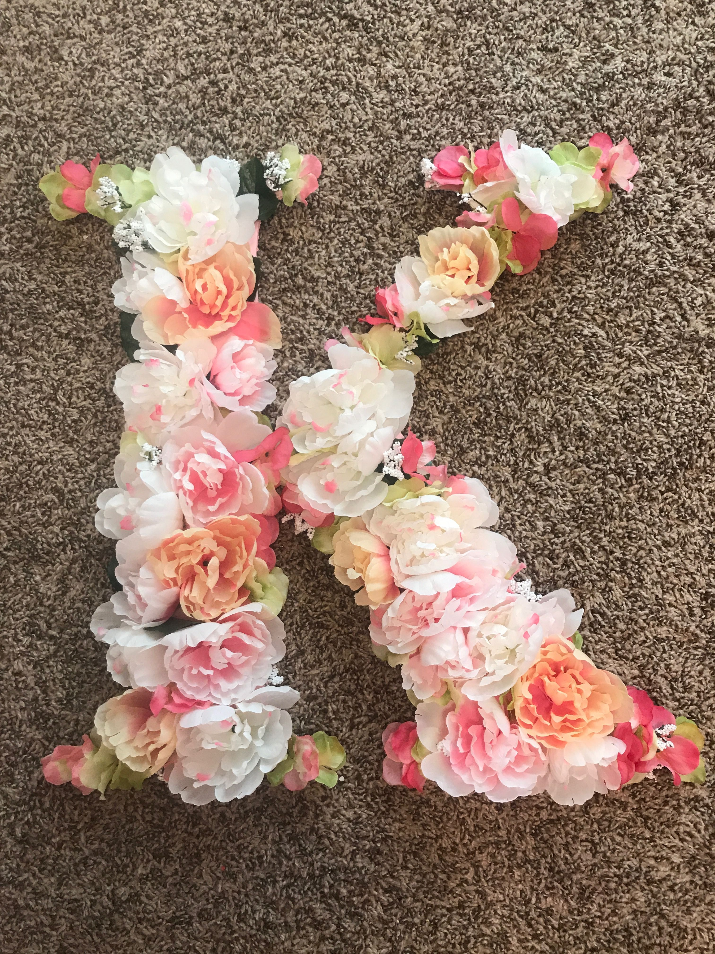 Floral Letter Using Foam Board As Backing And Dollar Tree Flowers Floral Foam Letters Floral Foam Diy Flowers
