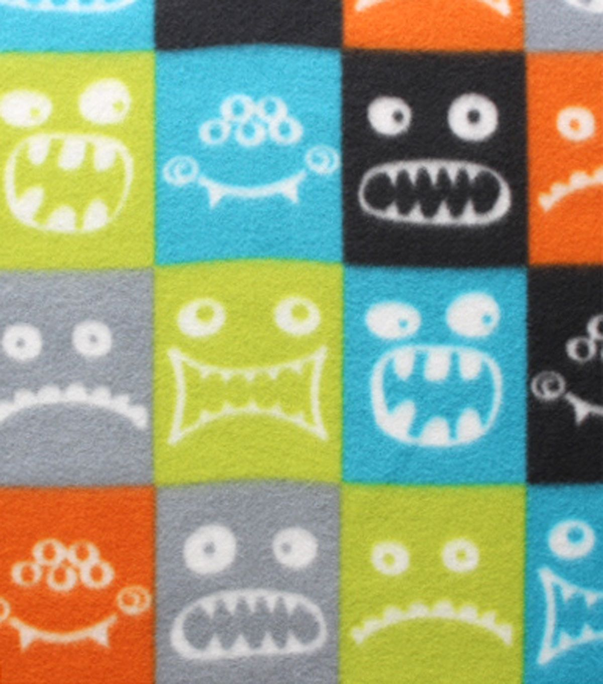 Blizzard fleece fabric blocked monster faces sewing stitchery