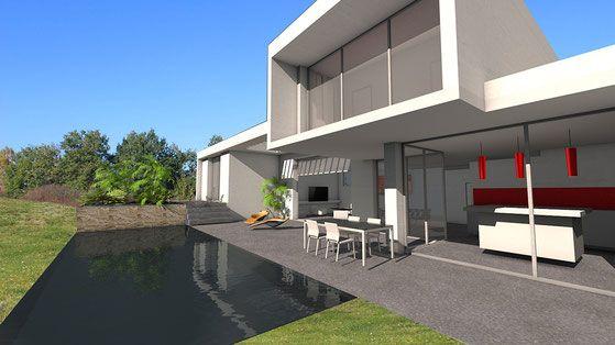 Villa de luxe avec porte-à-faux et très grandes baies vitrées