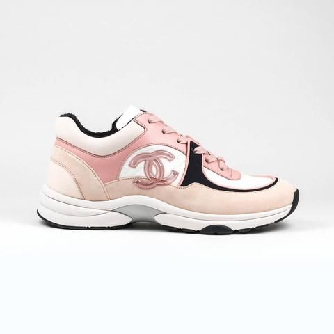 Photo of Chanel CC Logo Pink Black Suede Sneaker