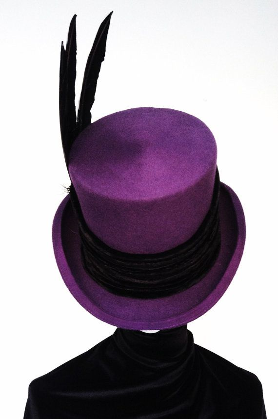 2a46c1a26d7e79 Victorian Steampunk Raven Purple top hat | Steam Haze | Steampunk ...