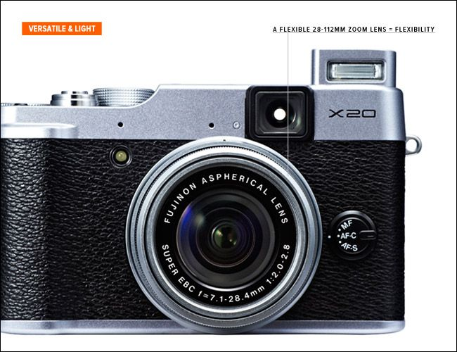 Fujifilm X20 Retro looks, a 28-112mm f2-2.8 aperture zoom lens ...