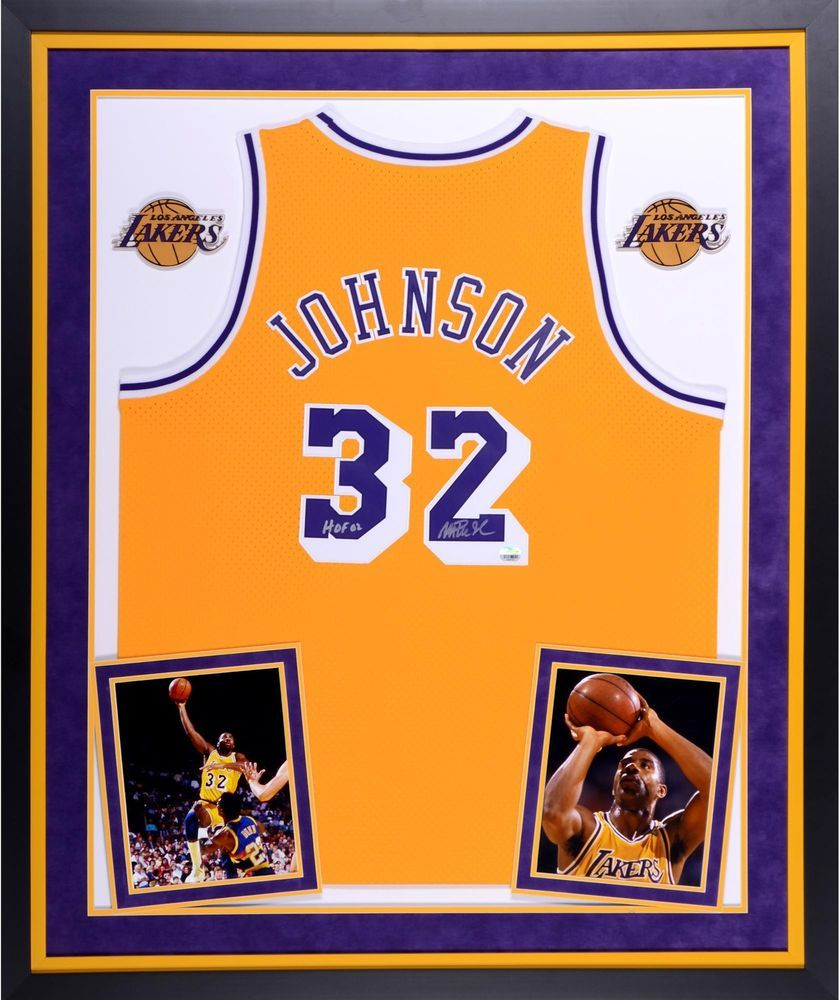 bb94f6789af Magic Johnson LA Lakers Signed Framed Gold Jersey w/ HOF 02 Insc - Fanatics