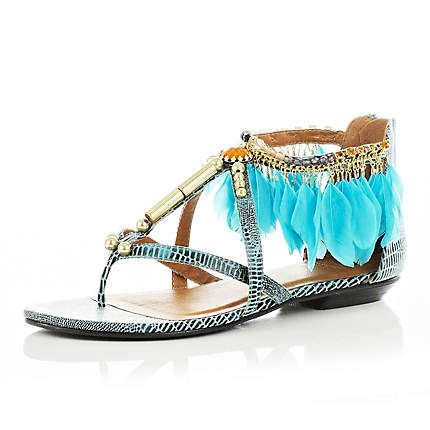 TURQUOISE FEATHER SANDALS