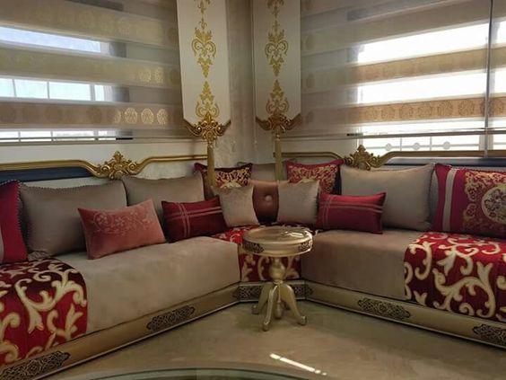 Les Derniers Modeles Du Salon Marocain A La Robe De 2019 Decorationmarocains Moroccan Living Room Blue Living Room Home Decor
