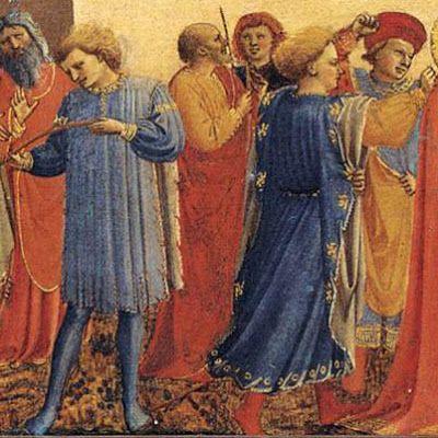 """BEATO ANGELICO - Matrimonio della Vergine, dettaglio - predella """"Incoronazione della Vergine"""" del Louvre - 1432 - Museo di San Marco, Firenze"""