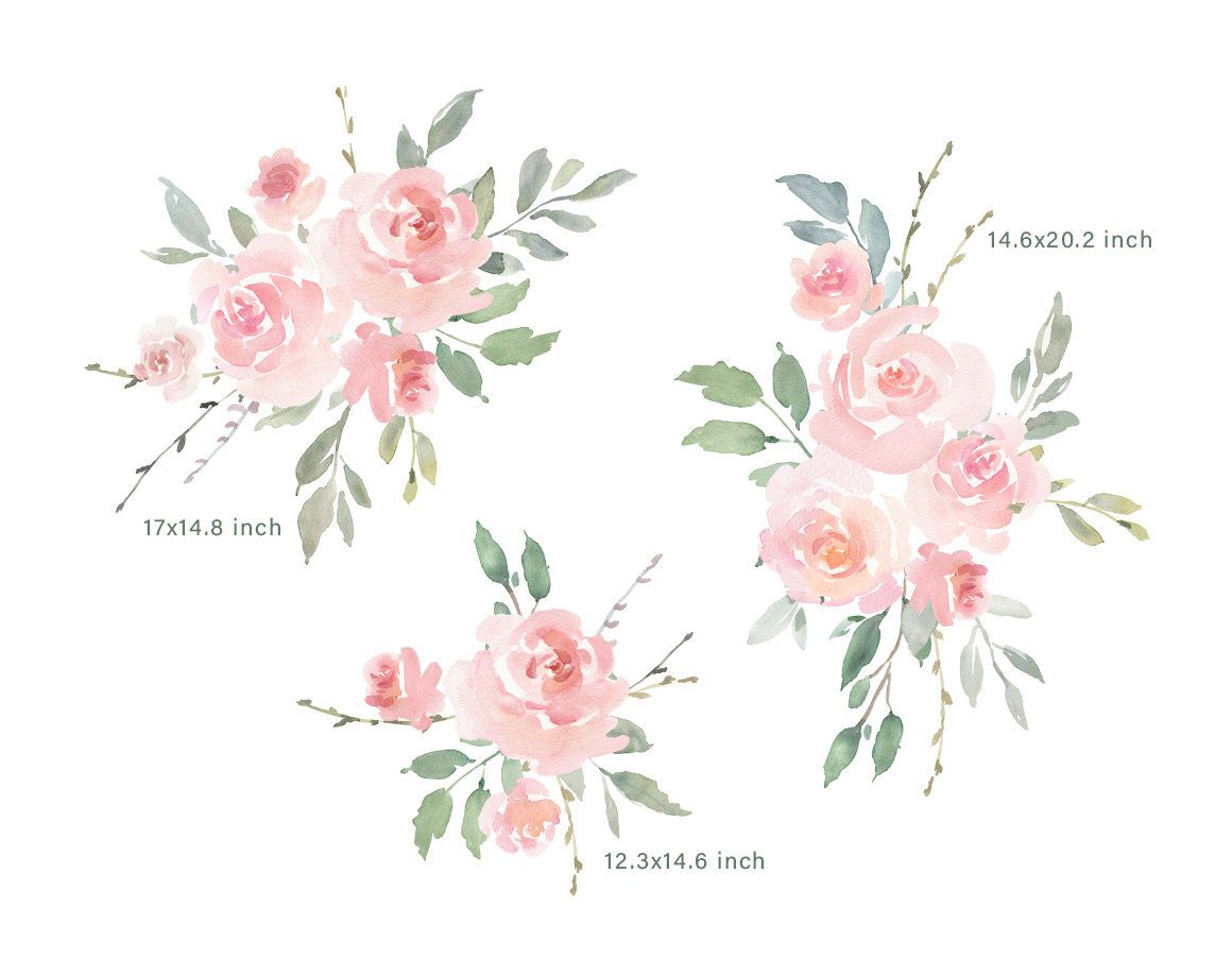 Pink Watercolor Floral Clipart Free Commercial Use Blush Light Etsy Floral Watercolor Free Clip Art Pink Watercolor