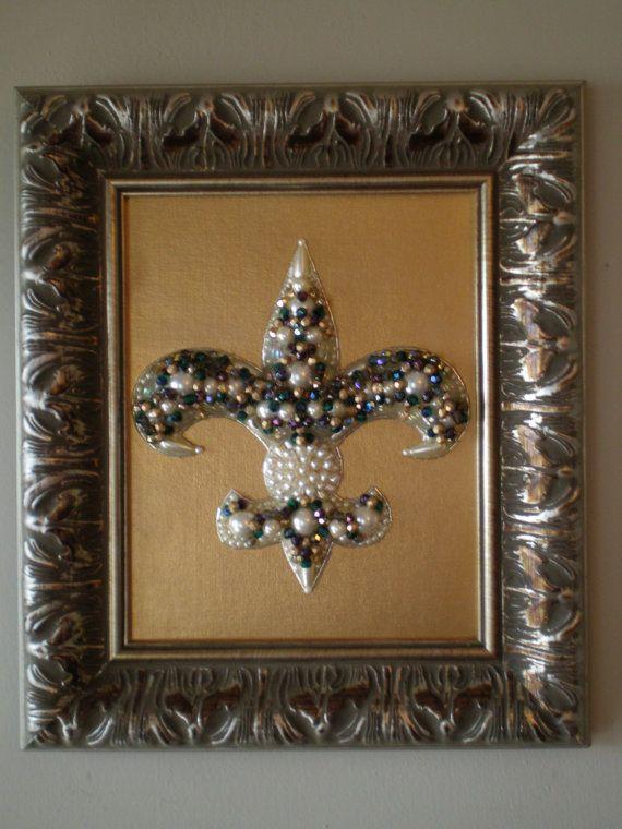 Beaded Fleur De Lis Art Beaded Art Fleur De Lis Decor Mosaic Etsy Fleur De Lis Repurposed Art Bead Art