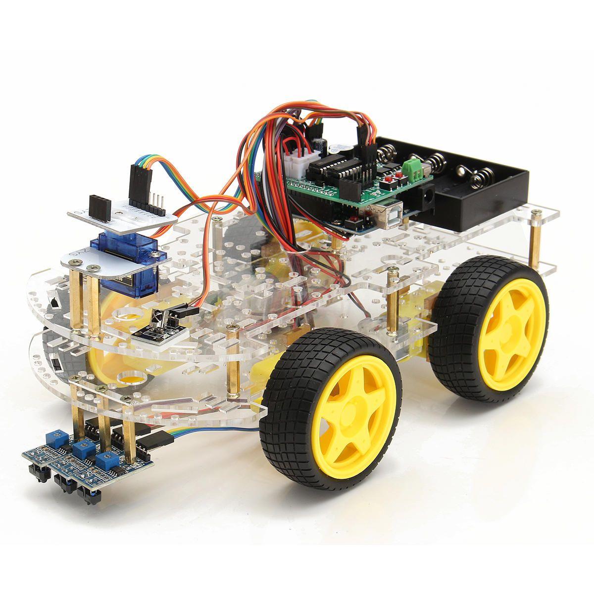 4wd robot smart car diy kit remote control tracking