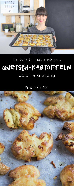 Kartoffeln mal anders- Quetschkartoffeln weich & knusprig.  Diese Kartoffeln schmecken einfach nur genial und sind eine tolle Abwechslung zu Pommes und Wedges.   #kartoffeln #quetschkartoffeln #potatos #pommes #wedges #ofenkartoffeln #rösti #pellkartoffeln #minirösti #gesundepommes #beilage #gesundkochen #kochen #essen #food #fraujanik #zuckerfrei #grill #grillbeilage #gericht #lunch #ofen #frühkartoffeln #gesund #gesundessen