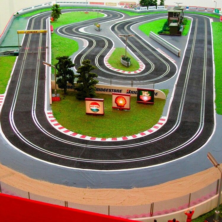 exciting 4 lane afx slot car layout fully landscaped