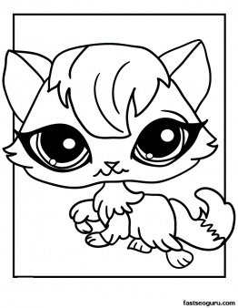 Print Out Littlest Pet Shop Coloring Page Kitten For Girls