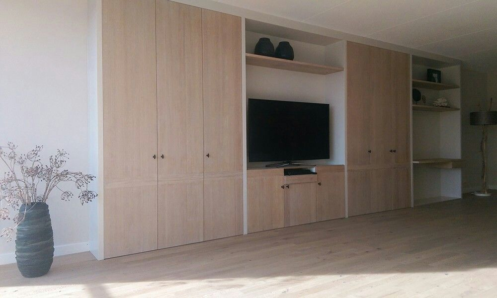Wandkast op maat build in storage living rooms