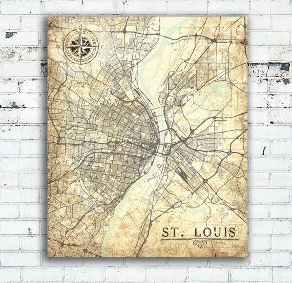 ST LOUIS Canvas Print MO Missouri Vintage map St Louis City Vintage