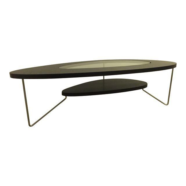 Image of Modern Oval Wood & Glass Coffee Table