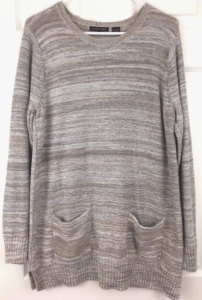 Tunic Sweater Cotton Brown Tan Blue Front Pockets Size L 29 Inches ...
