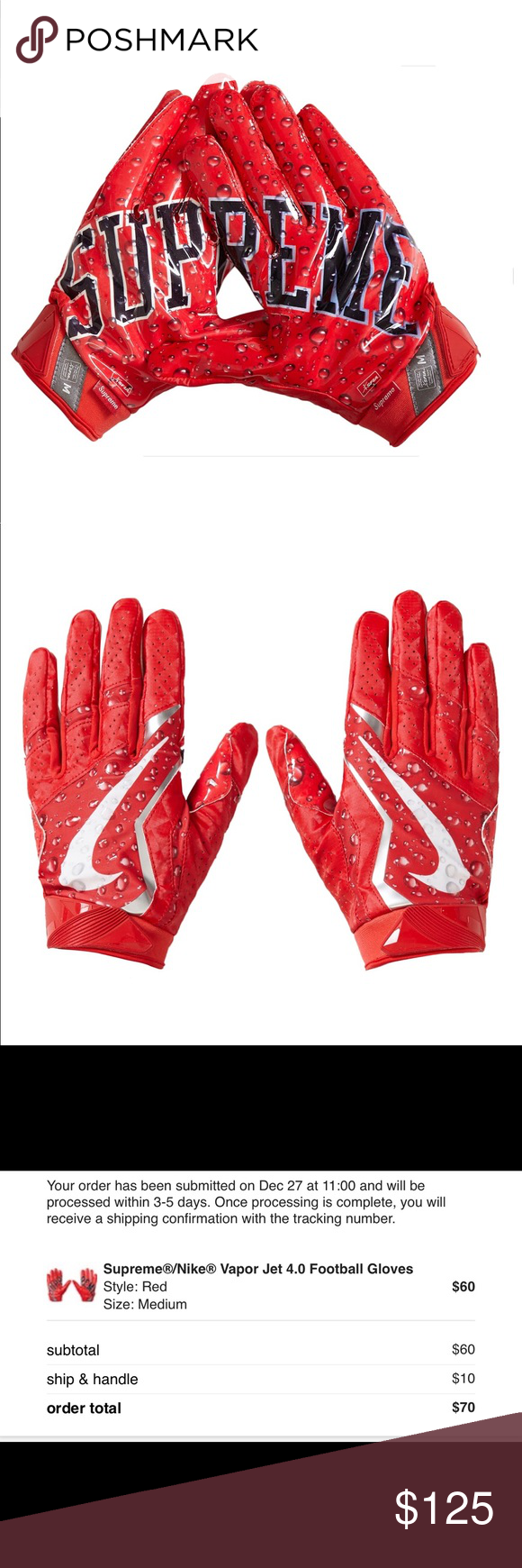 finest selection e22bf 2f571 Supreme Nike Vapor Jet 4.0 Football Gloves Red Supreme Nike Vapor Jet 4.0  Football Gloves. Red. Limited Edition. Sold Out In Minutes.
