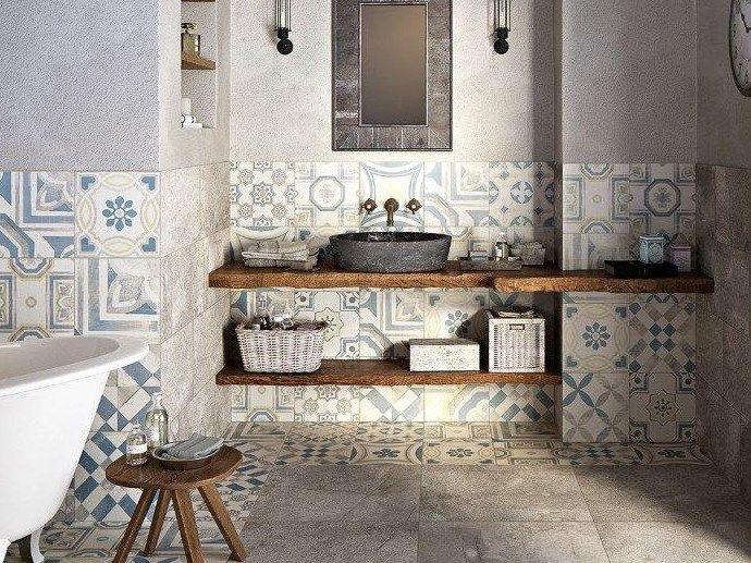 Cementine rustic bathroom loft bathroom laundry in bathroom