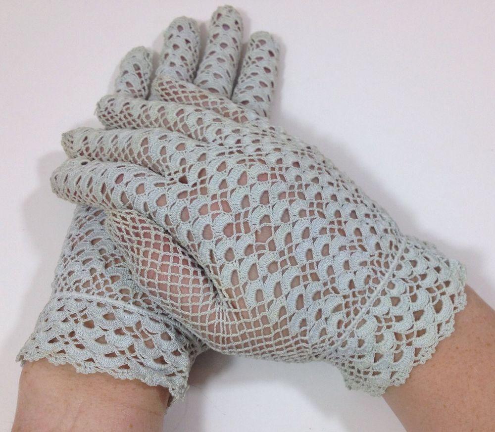 Vintage Blue Crochet Lace Gloves   Crochê e Tricô - Luvas   Pinterest
