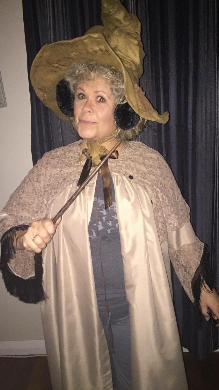 Harry Potter S Professor Sprout The Sproutfit Is Made From A Bed Sheet Lace Blouse Ri Harry Potter Fancy Dress Harry Potter Costume Harry Potter Birthday