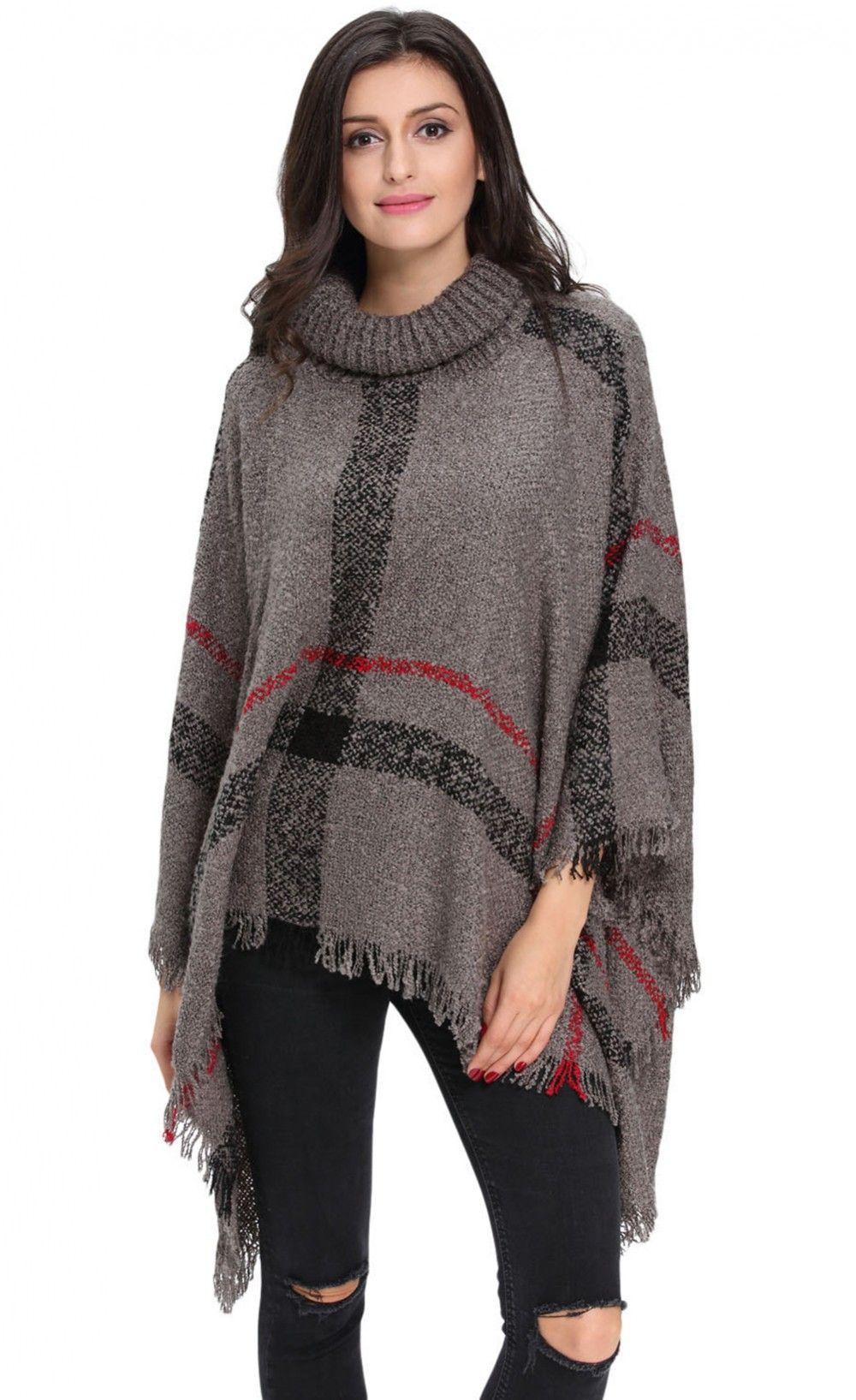 fc9466129 Gray Turtleneck Tassel Cape Sweater | STreet SWag! | Pullover ...