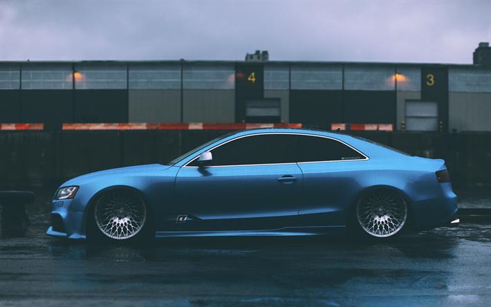 Download Wallpapers Audi A5 Tuning Stance Blue A5 Rain German Cars Audi Besthqwallpapers Com Audi S5 Audi Audi A5