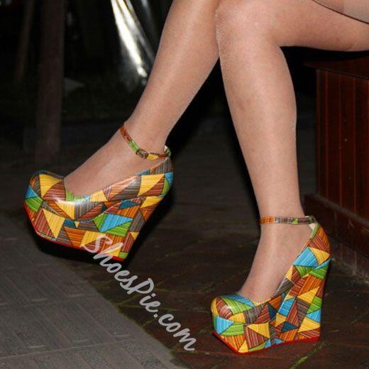 a72d17c6e11e Shoespie Classy Color Block Wedge Heels