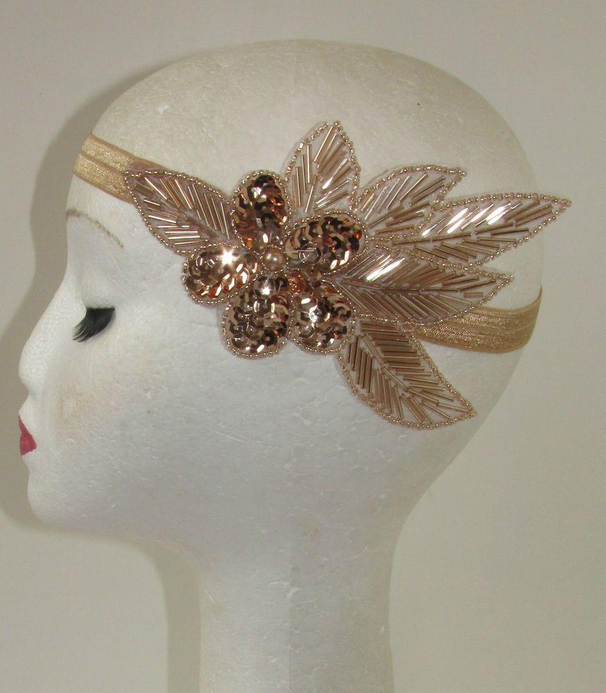 Feder Stirnband elastisch Fascinator Bead Hochzeit 20er Jahre  Party