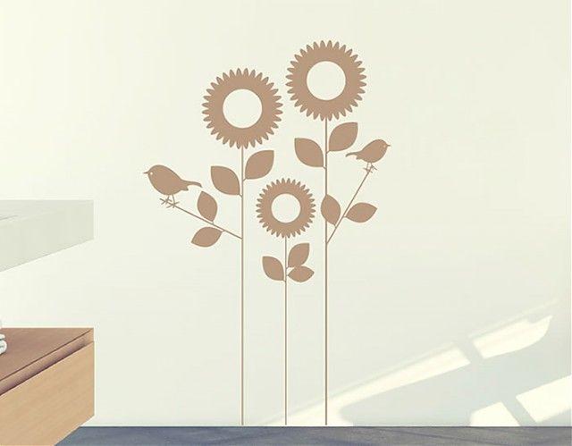 Vinilo adhesivo de temática floral con unos delicados y estilizados girasoles acompañados de unos alegres pajaritos. Si buscas un diseño ori...