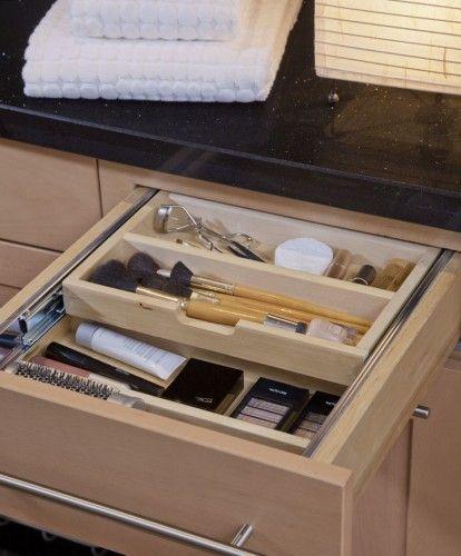 A Tiered Cutler Divider Used For Makeup Storage Makeup Storage Drawers Bathroom Vanity Storage Diy Makeup Storage Vanity