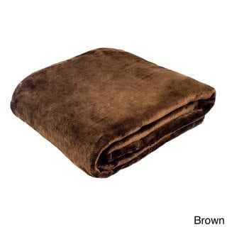 Solid Super Soft Plush Oversized Throw (Brown - Hypoallergenic/Reversible)