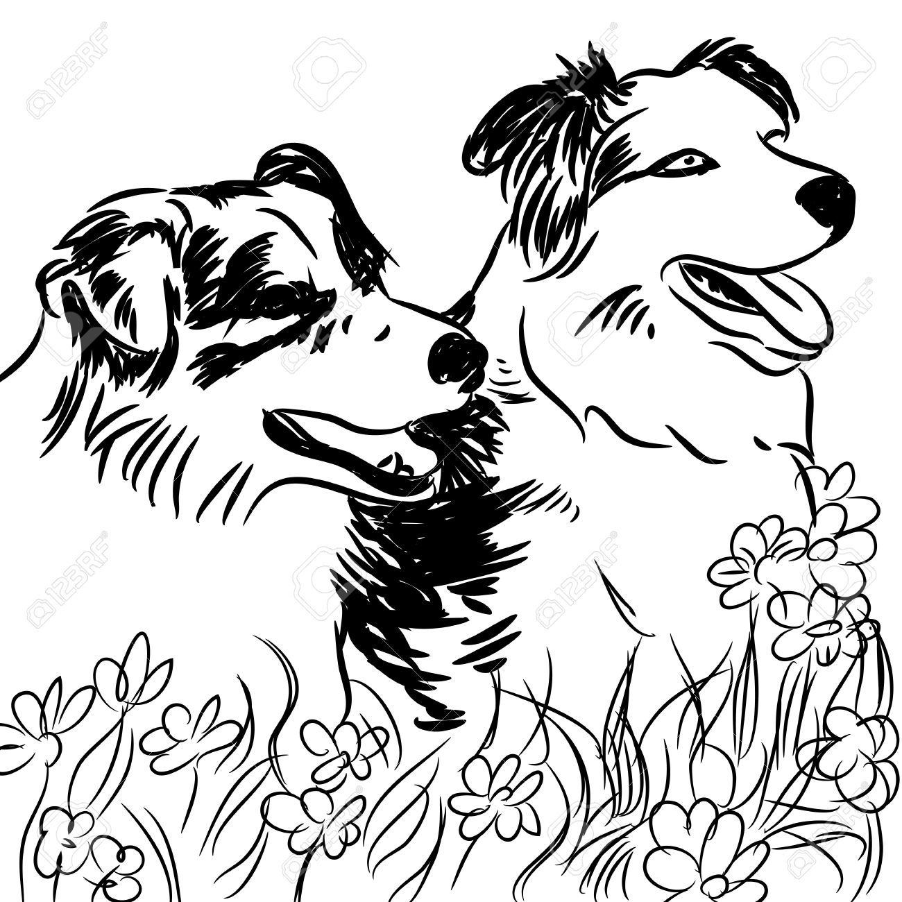 Pin By Theresa Wolf On Border Collies Dog Clip Art Dog Flower Border Collie Dog