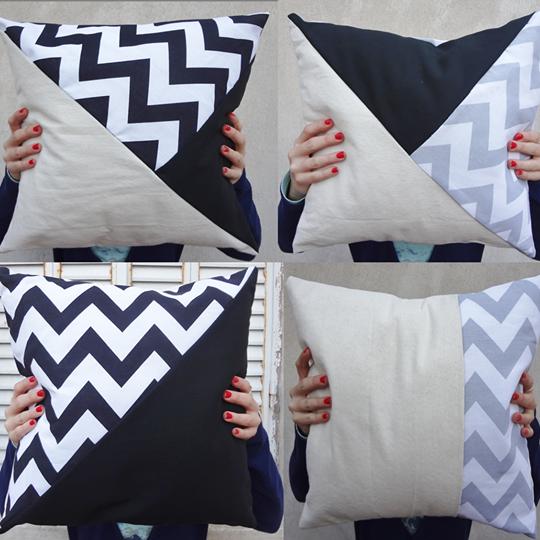 Almohadones combinados, mix de texturas, mix figuras geométricas.