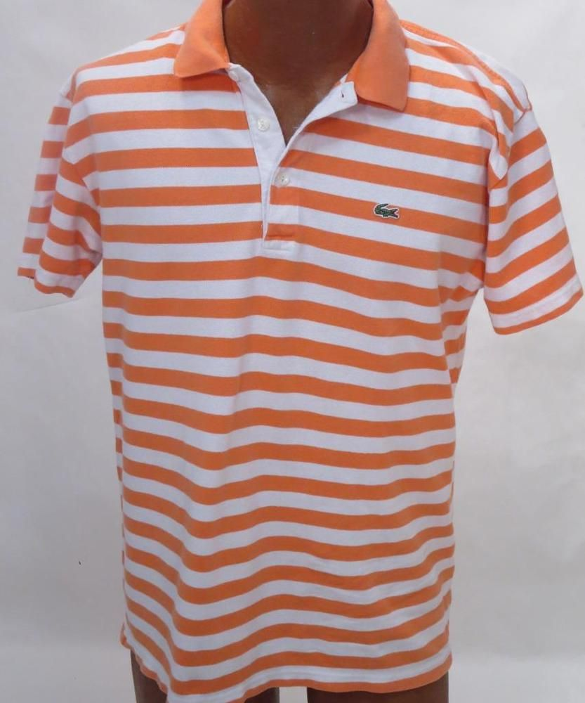 bf6204a8 Lacoste Orange & White Striped Short Sleeve Polo Shirt - Size 6 * #Lacoste  #PoloRugby