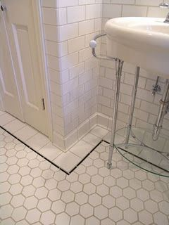 Shower Tiles As Border Around The Hex Tile Such A Pretty Almost All White Bathroom Design Using Subway And Hexagon Mosaic Floor
