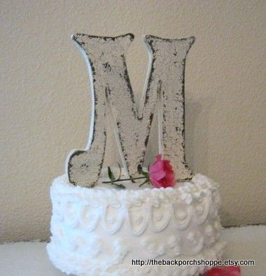Wedding Cake Topper Wood Initial Cake Topper Wedding Signs