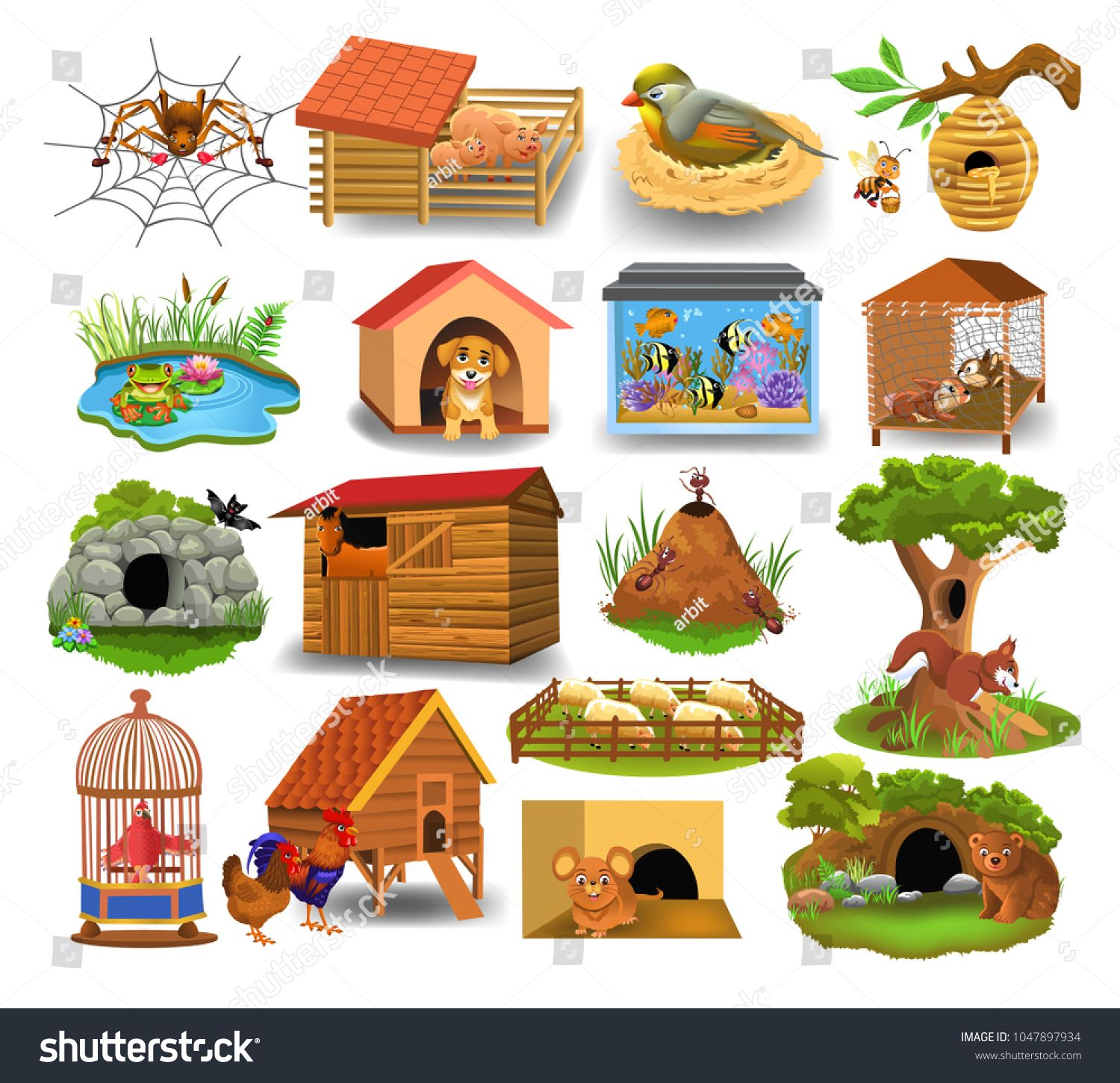 Animal Homes Isolated On A White Backgroundhomes Animal Isolated Background Animals Animal House White Background