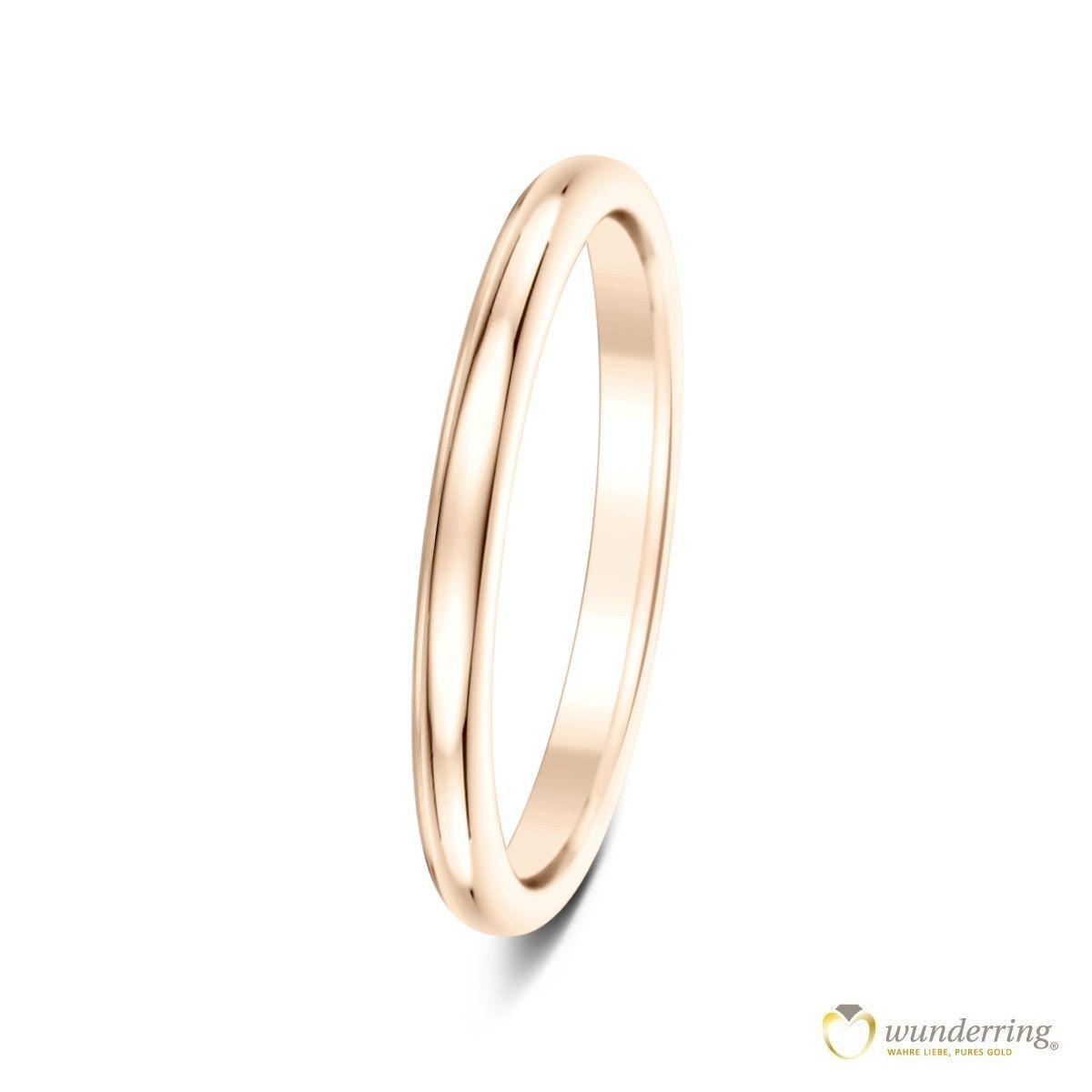 Schmaler Ring aus Roségold 2mm breit Auch in Kombination mit